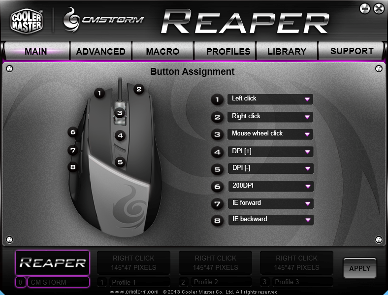 CM Storm Reaper - Software Main Page